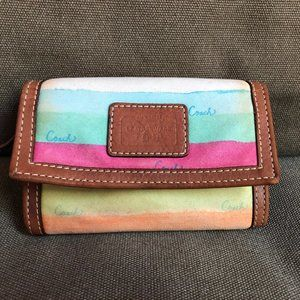 Coach Hampton Watercolor Key Ring Wallet